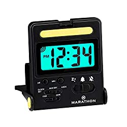 Marathon Basics Travel Alarm Clock, Easy to use, Easy to Set, Perfect for Camping - Battery Included - CL030010 (Black)