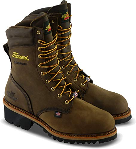 "Thorogood 804-3555 Men's Logger Series - 9"" Waterproof, Safety Toe Boot, Brown Crazyhorse - 13 XW US"