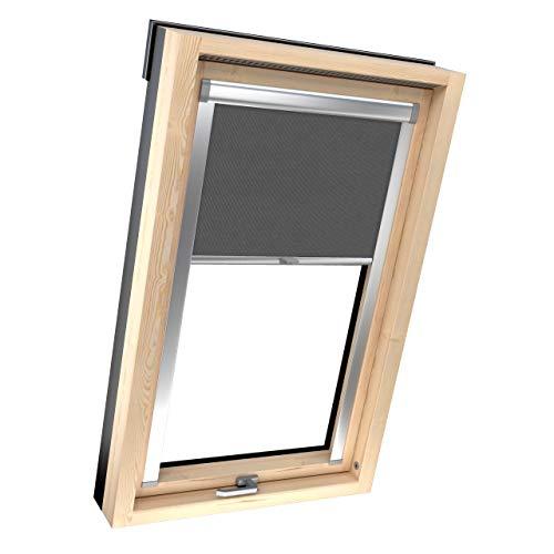 4dekor Dachfenster Rollo Verdunkelung Für Velux, M06/306, Graphit, Dachfensterrollo Thermo, Verdunkelungsrollo, 100% Sonnenschutz, Aluminiumgehäuse, Springrollo