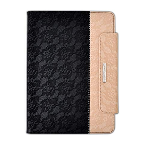 Thankscase Case for iPad Pro 12.9 2020, Rotating TPU Smart Cover with Pencil Holder [Support Pencil Charging], Wallet Pocket, Hand Strap for iPad Pro 12.9 4th Gen/ 3rd Gen (Lace Black Gold)