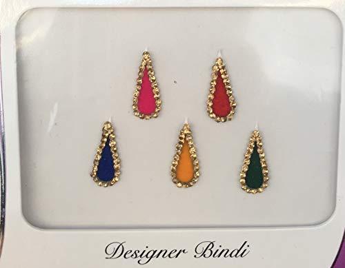 B2809 Multi Color Gold Stone Tear Drop Bindi Tattoo Tikka Bollywood Party Sticker