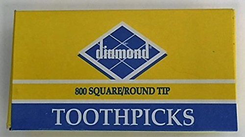 Diamond Square/Round Tip Toothpicks  One 1 box of 800 Toothpicks