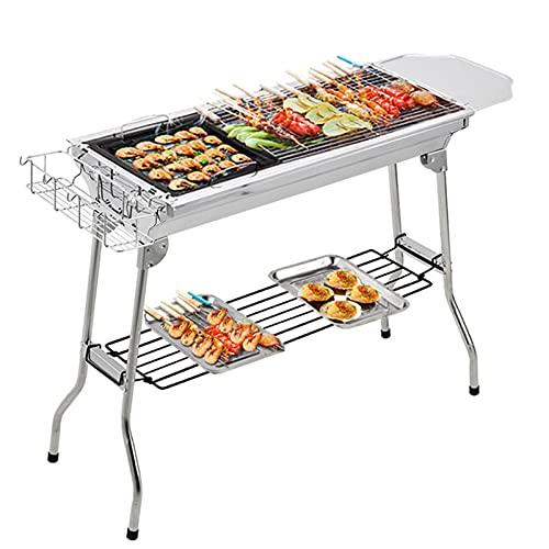 Grands ensembles de barbecue à charbon de bois, barbecues de cuisson en plein air en acier inoxydable, fumeurs, bureau de barbecue portable avec poêle pour pique-nique fête,28X13X27in / 73X33.5X70cm