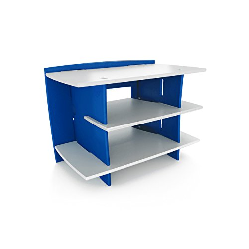 Legaré Furniture Kids Gaming and TV Media Stand, Standard Storage Unit for Bedroom, Basement, and Playroom, Blue and White