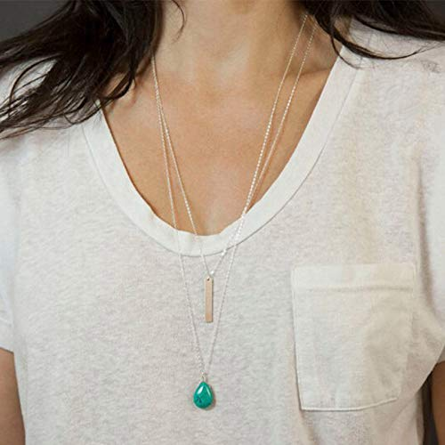 TseenYi Collar de turquesa en forma de lágrima Cadena Boho Collares de barra en capas Colgante largo de plata Collar de cadena de cuello vintage Joyas para mujeres y niñas
