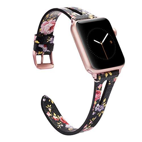 Wearlizer für Apple Watch 38mm Armband Leder, Echtleder X Band für iWatch Straps Ersatz Lederarmband 38mm 40mm für Apple Watch Series 4 3 2 1 - Schwarze rosa Blume