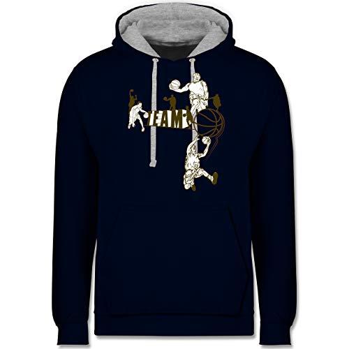 Shirtracer Basketball - Basketball Team - M - Navy Blau/Grau meliert - Fahrrad Hoodie - JH003 - Hoodie zweifarbig und Kapuzenpullover für Herren und Damen