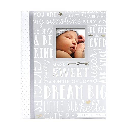 Lil Peach First 5 Years Dream Big Wordplay Baby Memory Book, Memory Journal, Gray