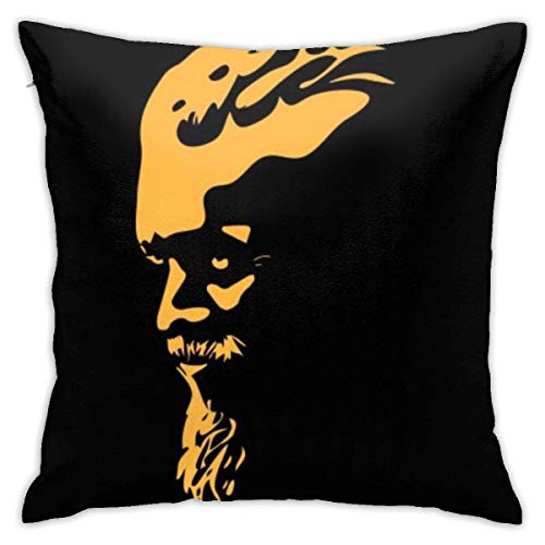 Throw Pillowcases Square Cushion Cover 45X45CM for Sofa Couch Bed Home Decoration, Bearded Man Portrait Profile Silhouette