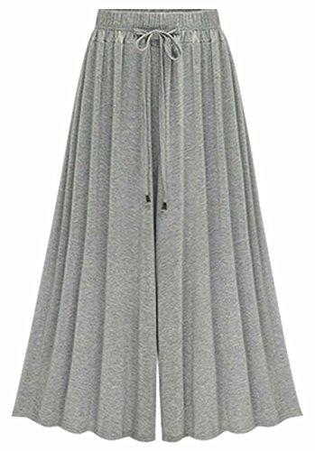 Femme Pantalons Jupe-Culotte Pantalon de Jogging Large Overdose Taille Haute Pantalon Large ceinturé (48, Gris)