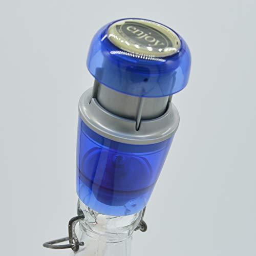 Weinverschluss Vakuum in Blau | Sektverschluss | Wein Vakuumverschluss | Weinflaschenverschluss | Vakuumpumpe Weinflaschen | Verschluss Weinflasche | Vakuumierer | Vakuumverschluss
