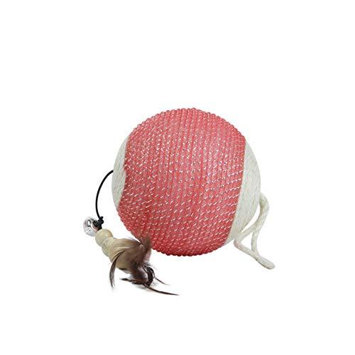 Gato Moler Garras Bola De Juguete Juguete Divertido del Gato Alfombrillas para Rascar Gatos De Sisal Natural Afilador De Garras Campanas Pluma De Pollo Proteja Alfombras Y SofáS,Red