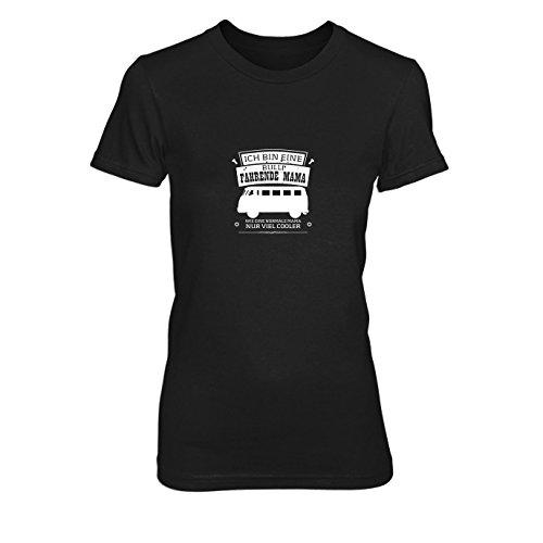 Ich Bin eine Bulli fahrende Mama - Damen T-Shirt, Größe: L, Farbe: schwarz