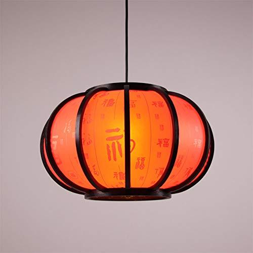 XIAOXY Estilo Chino sólido de Madera Redonda de Calabaza de la Linterna de la lámpara Tradicional Estilo japonés Tatami Colgando Simple Light Balcón Restaurante lámpara Colgante (Color : C)