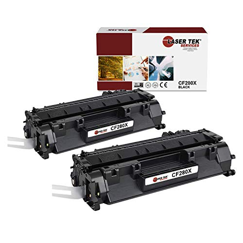 Laser Tek Services Compatible HP 80X CF280X High Yield Toner Cartridge Replacement for HP Laserjet Pro 400 M401dn M401dw M401n Printers (Black, 2 Pack) - 6,900 Pages