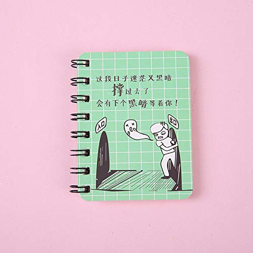 Libro de bobinas, libro de bobinas de rollover de estudiante lindo, libreta de bolsillo portátil, cuaderno de dibujos animados@Oscuro