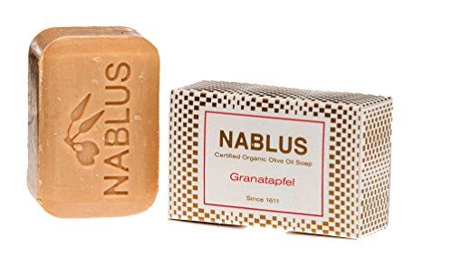 Nablus Soap Bio-Olivenölseife Granatapfel, PALMÖLFREI, VEGAN, unparfümiert & rückfettend, für alle Hauttypen geeignet, auch als Haarseife sehr gut geeignet, 100g