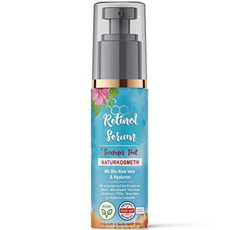Premium Retinol Serum by Summer Foot I 100 ml I Vegan I Naturkosmetik I Dermatologisch getestete Feuchtigkeitscreme mit Hyaluron auf Basis von Bio Aloe Vera I Made in Germany