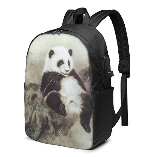 XCNGG Mochila para porttil, Mochila Ligera de Viaje de 17 Pulgadas con Puerto de Carga USB Panda