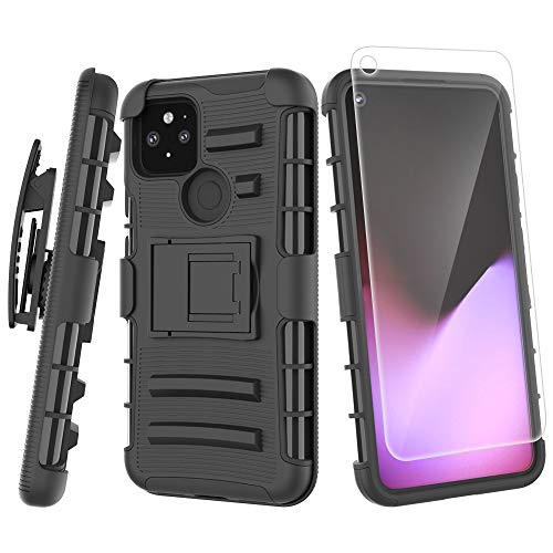 for Google Pixel 5 with Temper Glass Screen Protector Heavy Duty Full-Body Shockproof Holster Armor Case Belt-Clip, Kickstand (Black)