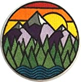 PatchClub Mountain and River Adventure Outdoor Patch - Colorful Embroidered Cool Iron On/Sew On Patches