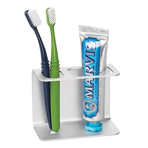 mDesign Zelfklevende tandenborstelhouder van aluminium, moderne houder voor tandenborstels, tandpasta, make-up enz.
