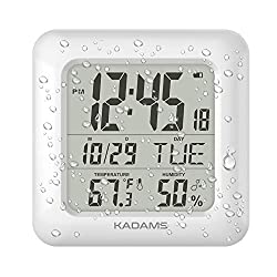 KADAMS Digital Bathroom Shower Wall Clock, Waterproof for Water Spray, Temperature Humidity Moisture Proof, Large Display Calendar Month Date Day, Suction Cup Stand Hanging Hole Rope Clock White Frame