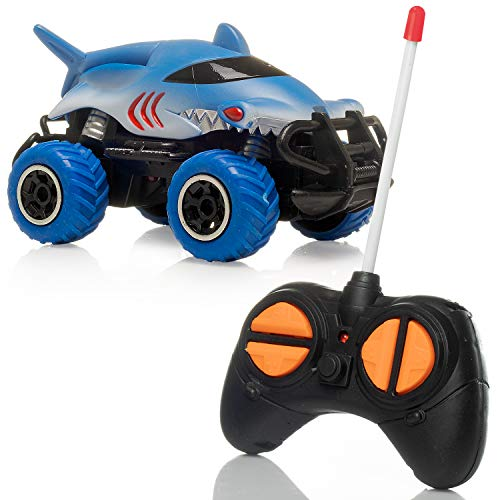 Rugged Racers Remote Control Shark Race Car Toy – Kids RC Toy Car – Shark – 4 Channels, LED Lights – Easy to Handle – Fun and Entertaining – Ideal for Birthday, Parent-Child Time