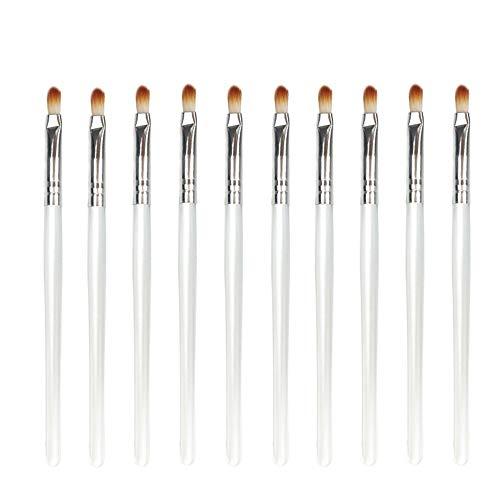 Pinceaux à maquillage 10pcs de maquillage femmes pinceau yeux Smudge Set pinceau à lèvres ombre à paupières Points culminants outil pratique (Couleur : White Silver)