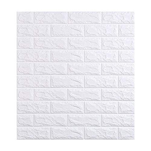 YZY Selbstklebende 3D Wallpaper Wasserdicht TV Hintergrund 3D Wandaufkleber Wohnzimmer Tapete Schlafzimmer Dekoration Ziegel Tapete (Color : White, Size : 70cmx77cm)