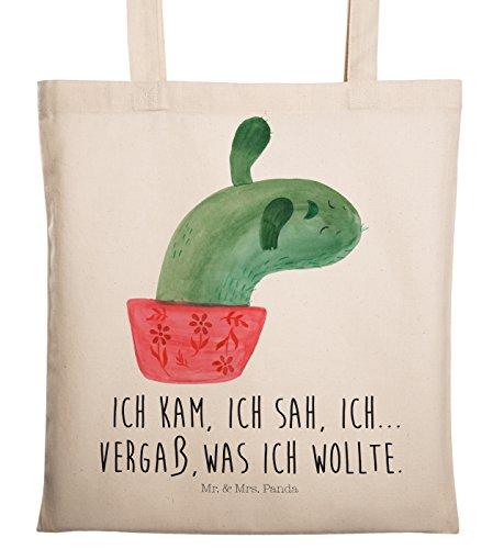 Mr. & Mrs. Panda Shopper, Jutebeutel, Tragetasche Kaktus Mamamia mit Spruch - Farbe Transparent