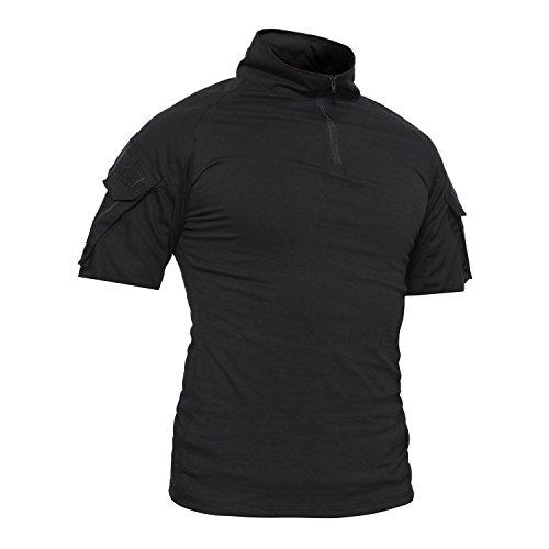 TACVASEN Slim Fit Herren Hemd Kurzarm Military Tactical Airsoft Shirt Schwarz