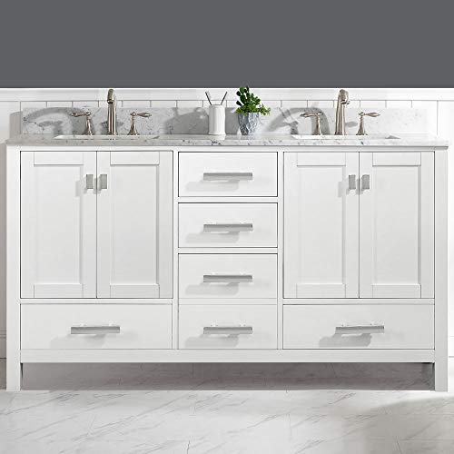 LUCA Kitchen & Bath LC61CWW Geneva 60' Double Vanity Set in White with Carrara Marble Top and Sink
