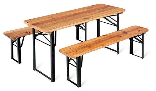 Stagecaptain BBK-110 Hirschgarten Kinder-Festzeltgarnitur 110 cm - kleine Sitzgelegeneheit für Kinder - bestehend aus 1 Tisch und 2 Bänken - extra niedrig (Tischhöhe: 53 cm, Sitzhöhe: 32 cm)