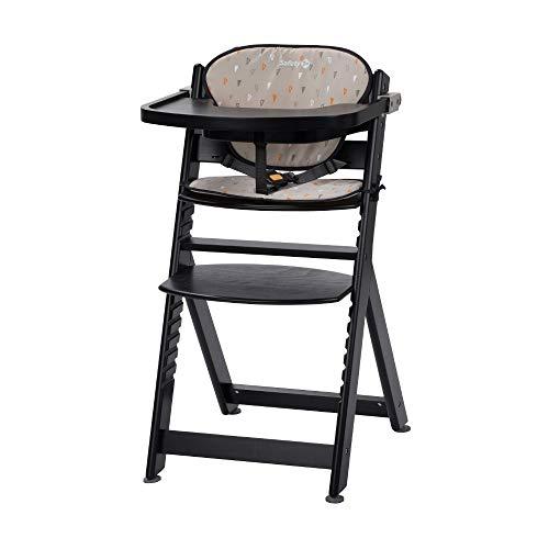 Safety 1st Timba con cojin, Trona de madera evolutiva, Trona para bebes con bandeja extraible, Silla de altura regulable crece con el nino 6 meses - 10 anos, color Negro