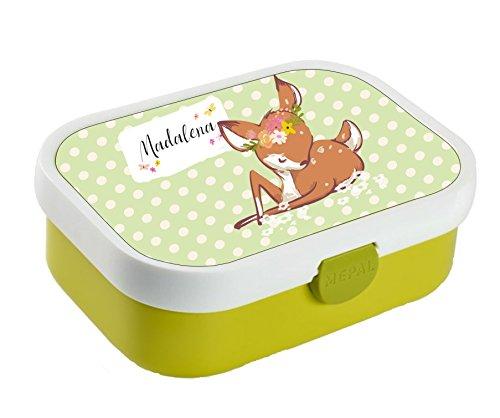 *wolga-kreativ Brotdose Lunchbox Bento Box Kinder Rehkitz mit Namen Rosti Mepal Obsteinsatz für Mädchen Jungen personalisiert Brotbüchse Brotdosen Kindergarten Schule*