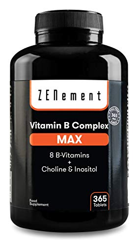 Complejo vitaminico B Max, 365 Comprimidos | 8 Vitaminas B + Colina & Inositol. | El más completo y con altas dosis | Vegano | de Zenement