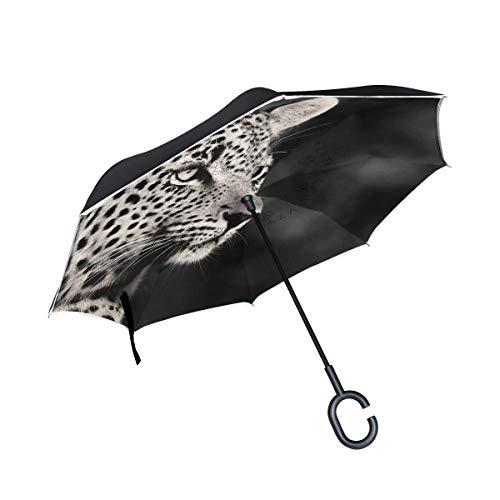 Mnsruu Paraguas invertido con patrón de Leopardo Doble Capa Plegable Resistente al Viento y a los Rayos UV, Paraguas de Viaje para Mujeres y Hombres