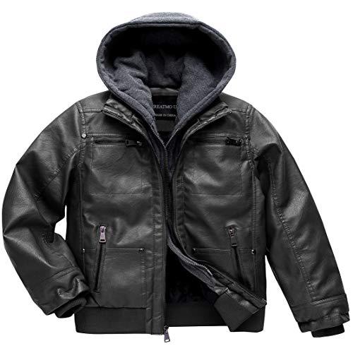 Boy Faux Leather Jacket Motorcycle Jacket Winter Jacket Zipper Flight Pleather Jacket Black 14/16
