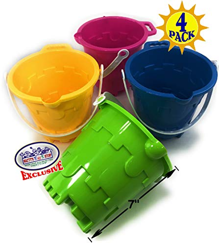 """Matty's Toy Stop Beach Gear 7"""" Plastic Castle Mold Sand Buckets (Pails) with Easy Pour Spout and Handle Blue, Pink, Green & Yellow Party Set Bundle - 4 Pack"""