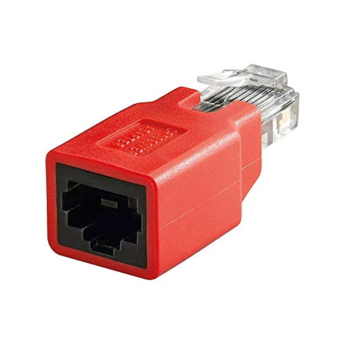 Goobay 68912 RJ45 Crossover Adapter, Rot, CAT 5e, RJ45-Stecker (8P8C) auf RJ45-Buchse (8P8C)