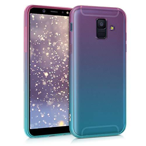 kwmobile Hülle kompatibel mit Samsung Galaxy A6 (2018) - Hülle Handy - Handyhülle Zwei Farben Pink Blau Transparent