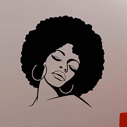 Afrikanische Frau Wandtattoo schwarz Hippie Mädchen Gesicht Vinyl Aufkleber Home Innendekoration Glamour Glamour Friseursalon Wanddekoration andere Farbe 57x63cm