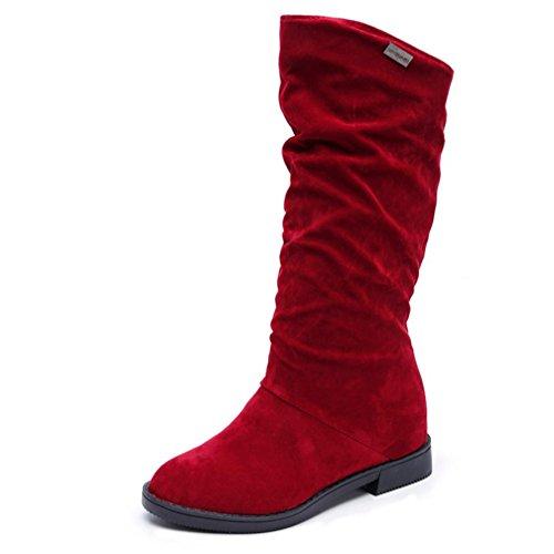 K-youth® Botines Mujer, Botas para Mujer Mujer Alta Pierna Plana Botas de Gamuza Zapatos