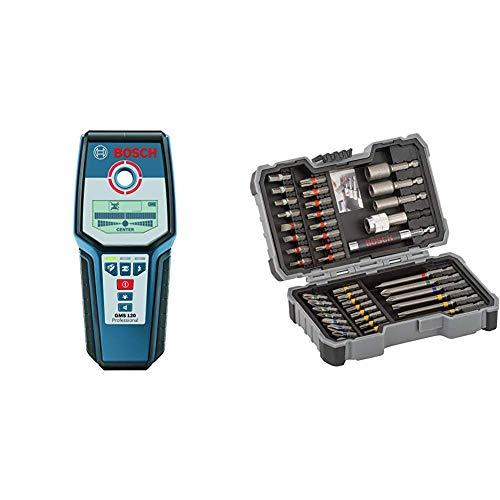 Bosch Professional Digitales Ortungsgerät GMS 120 (1x 9V Batterie) & Professional 43tlg. Schrauber Bit Set (Zubehör für Elektrowerkzeuge)