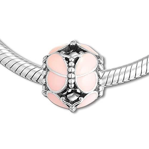 Pandora 925 plata esterlina DIY joyería Charmpink cuentas de mariposa amuletos joyería encaja pulsera única collar kr abalorios