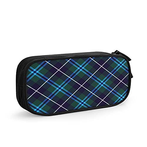 Scozia scozzese diagonale Astuccio Grande Capacità Astuccio Multifunzione Con 2 Cerniera Scomparti per Ragazzo e Ragazza