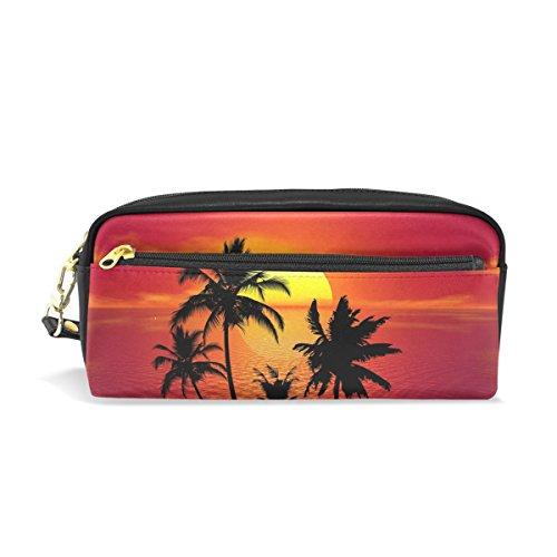 Trousse de maquillage de voyage ISAOA - Motif palmier tropical - Grande capacité - Cadeau idéal pour les enfants, les filles, les femmes