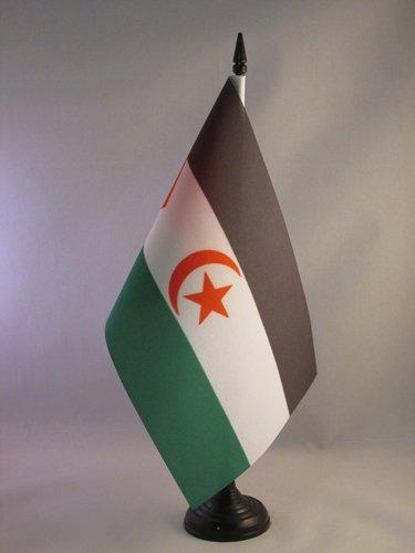 AZ FLAG Bandera de Mesa de Sahara Occidental 21x14cm - BANDERINA de DESPACHO REPÚBLICA ÁRABE SAHARAUI DEMOCRÁTICA 14 x 21 cm