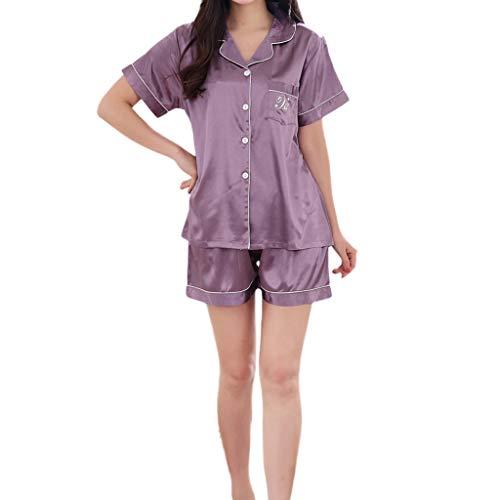 MRULIC Valentinstag Schlafanzug Sets Damen Kurzarm Nachtwäsche Frühling und Sommer Komfortable Pyjamas für Zuhause(Violett,EU-38/CN-L)
